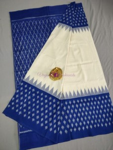 White and dark blue ikkat Cotton sarees