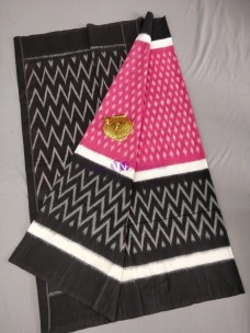 Pink with black ikat cotton sarees