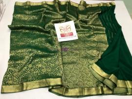 Dark green pure crepe sarees