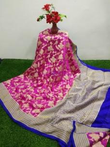 Dark pink banarasi semi pure silk chiffon sarees
