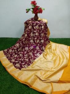 Maroon red banarasi semi pure silk chiffon sarees