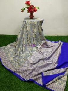 Gray banarasi semi pure silk chiffon sarees