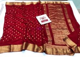 Dark red pure crepe sarees