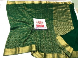 Bottle green pure crepe sarees