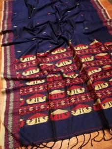 Navy blue mercerised khadi handwoven dolabedi sarees