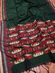 Dark green mercerised khadi handwoven dolabedi sarees