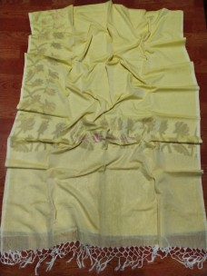 Lemon yellow handwoven khadi jamdani sarees