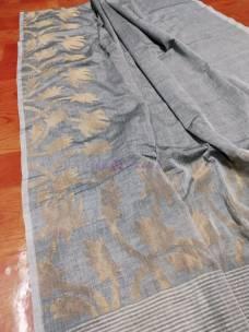 Gray handwoven khadi jamdani sarees