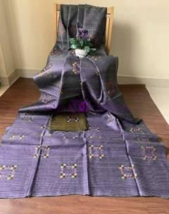 Dark lilac pure tussar Gicha silk sarees