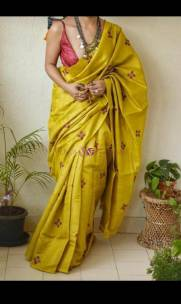 Dark Yellow pure tussar Gicha silk sarees