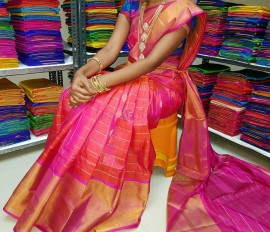 Pink uppada sarees with gold and silver butti