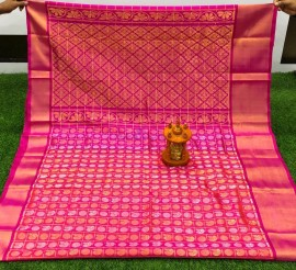 Dark pink uppada sarees with checks and butti work