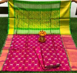 Dark magenta and green uppada sarees with checks and butti work