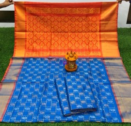 Light blue and orange uppada sarees with checks and butti work