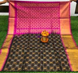 Black and pink uppada sarees with checks and butti work