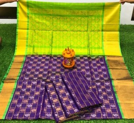 Dark violet and green uppada sarees with checks and butti work