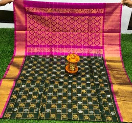 Bottle green and pink uppada sarees with checks and butti work