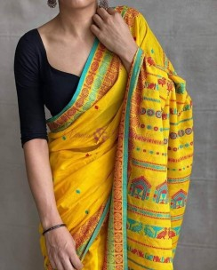 Yellow and blue mercerised khadi fully handwoven dolabedi sarees