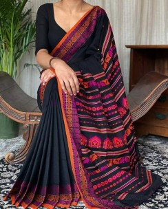 Black mercerised khadi fully handwoven dolabedi sarees