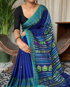 Blue mercerised khadi fully handwoven dolabedi sarees