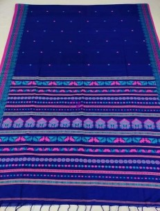 Blue and pink mercerised khadi fully handwoven dolabedi sarees