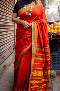 Red mercerised khadi fully handwoven dolabedi sarees