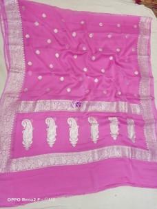 Pink pure banarasi chiffon sarees