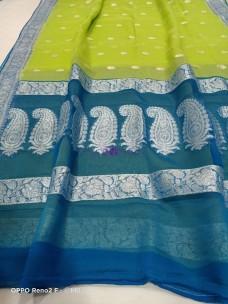 Green and light blue pure banarasi chiffon sarees