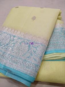Light yellow and light sky blue pure chiffon banarasi sarees