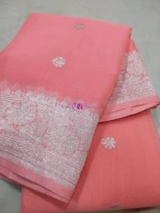 Peach pure banarasi chiffon sarees