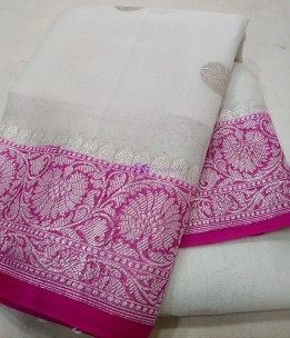 White and dark pink pure chiffon banarasi sarees