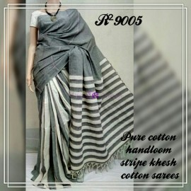 Dark gray pure khesh cotton sarees