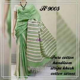 Light green pure khesh cotton sarees
