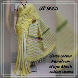 Yellow pure khesh cotton sarees