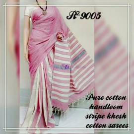 Pink pure khesh cotton sarees