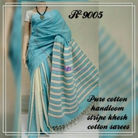 Light blue pure khesh cotton sarees