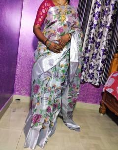 Silver uppada tissue cotton printed sarees