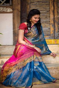 Light blue and pink uppada tissue cotton sarees