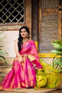 Pink with green uppada tissue sarees