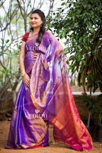 Purple and pink uppada tissue silk sarees