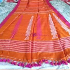 Orange khadi kalakshetra sarees
