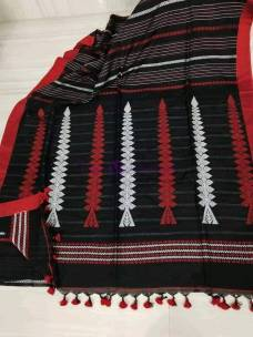 Black and red khadi kalakshetra sarees