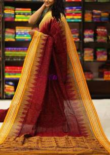 Red and yellow handloom ikkat cotton sarees
