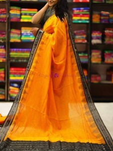 Mango yellow and black handloom ikkat cotton sarees