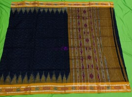 Black handloom ikkat cotton sarees