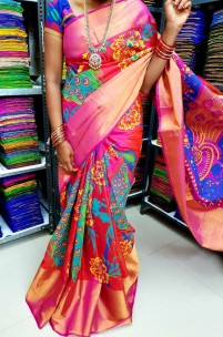 Red mix pink uppada silk printed sarees