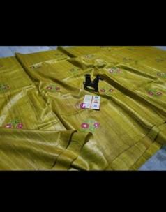 Olive green pure tussar Gicha silk sarees