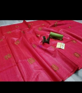 Dark pink pure tussar Gicha silk sarees