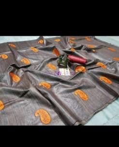Gray pure tussar Gicha silk sarees