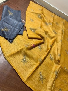 Yellow pure tussar Gicha silk sarees